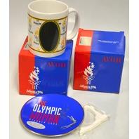 2 Avon 1996 Atlanta Olympic Mugs and 1 Avon Olympic Commemorative Plate.