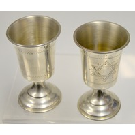 Vintage Silver Plated Kiddish Cups - 2 matching - Very Good Shape.
