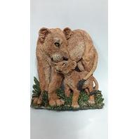 "Figi Graphics  ""Lions"" SC-AN-104 Mother and cub.  Ceramic Plaque 10"" x 8"" across."