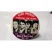 """3.5"""" Pinback Metal Elvis Presley King of Rock 'n'Roll-1935-1977"""