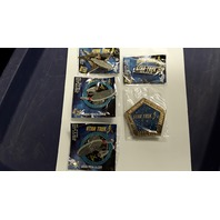 Star Trek Collectible Pins 5 pcs. 2 Signs and 3 Enterprise Ships.