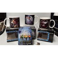 Lot of 5  Star Trek Mugs: Kirk, Spock, Enterprise, 1 Star Trek Insignia Pin & Metal cards