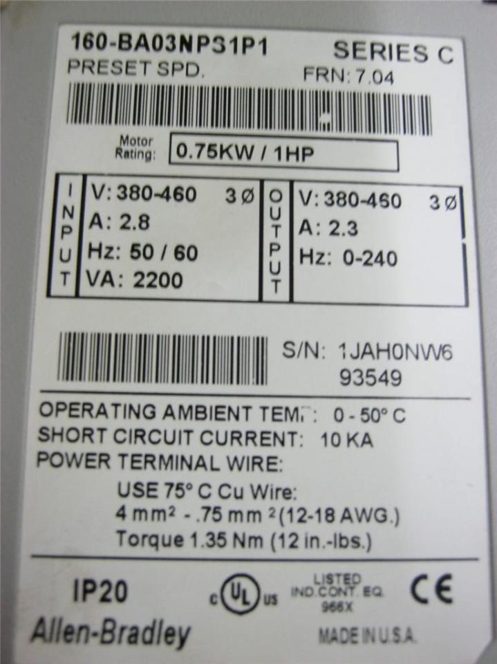 Allen Bradley 160-ba03nps1p1 Series C Speed Controller 380