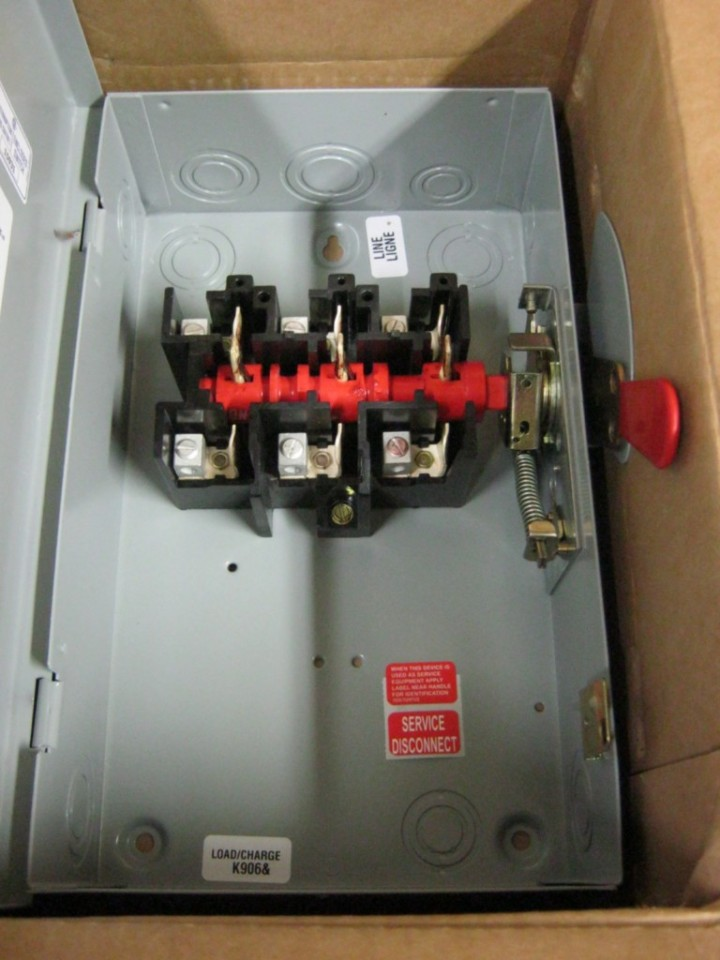 GE TGN3322 60 Amp General Duty Safety Switch 240 VAC 3 Pole 3 Wire ...