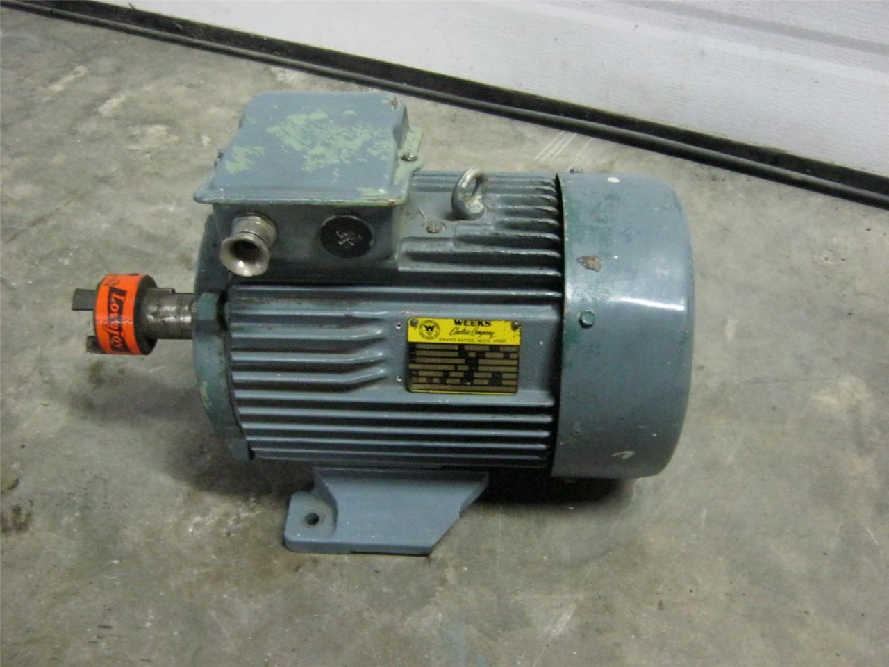 Weeks Electric Company 5 5 HP 3410 RPM 3 Phase Electric Motor | Daves  Industrial Surplus LLC