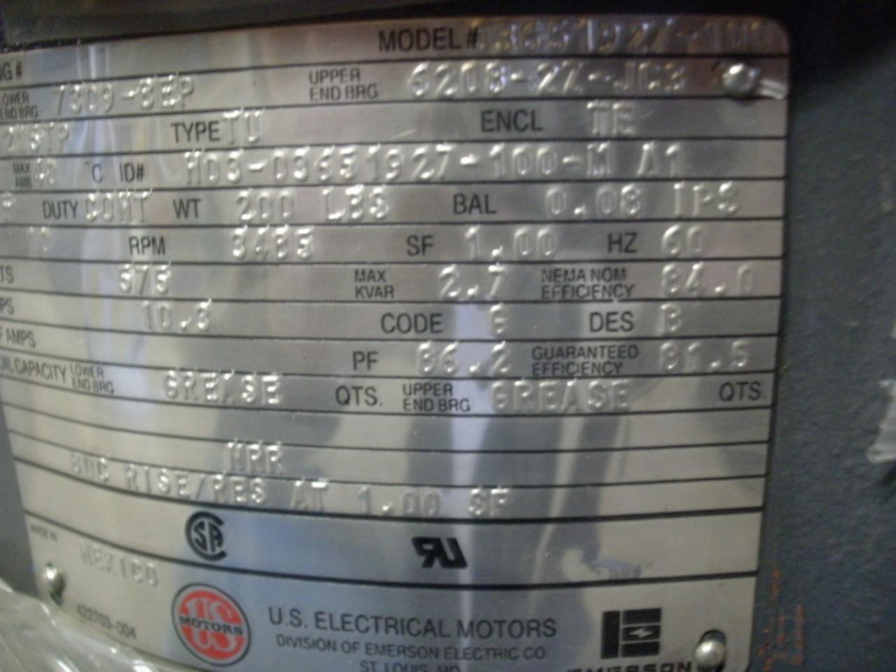 Us Motors 3 Phase Motor 10 Hp 575 V 60 Hz 3485 Rpm New