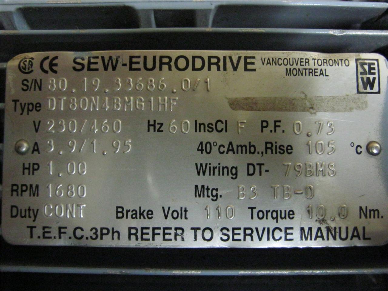 Sew Eurodrive Motor Dt80n4bmg1hf 1hp 1680 Rpm 3 Ph Ebay