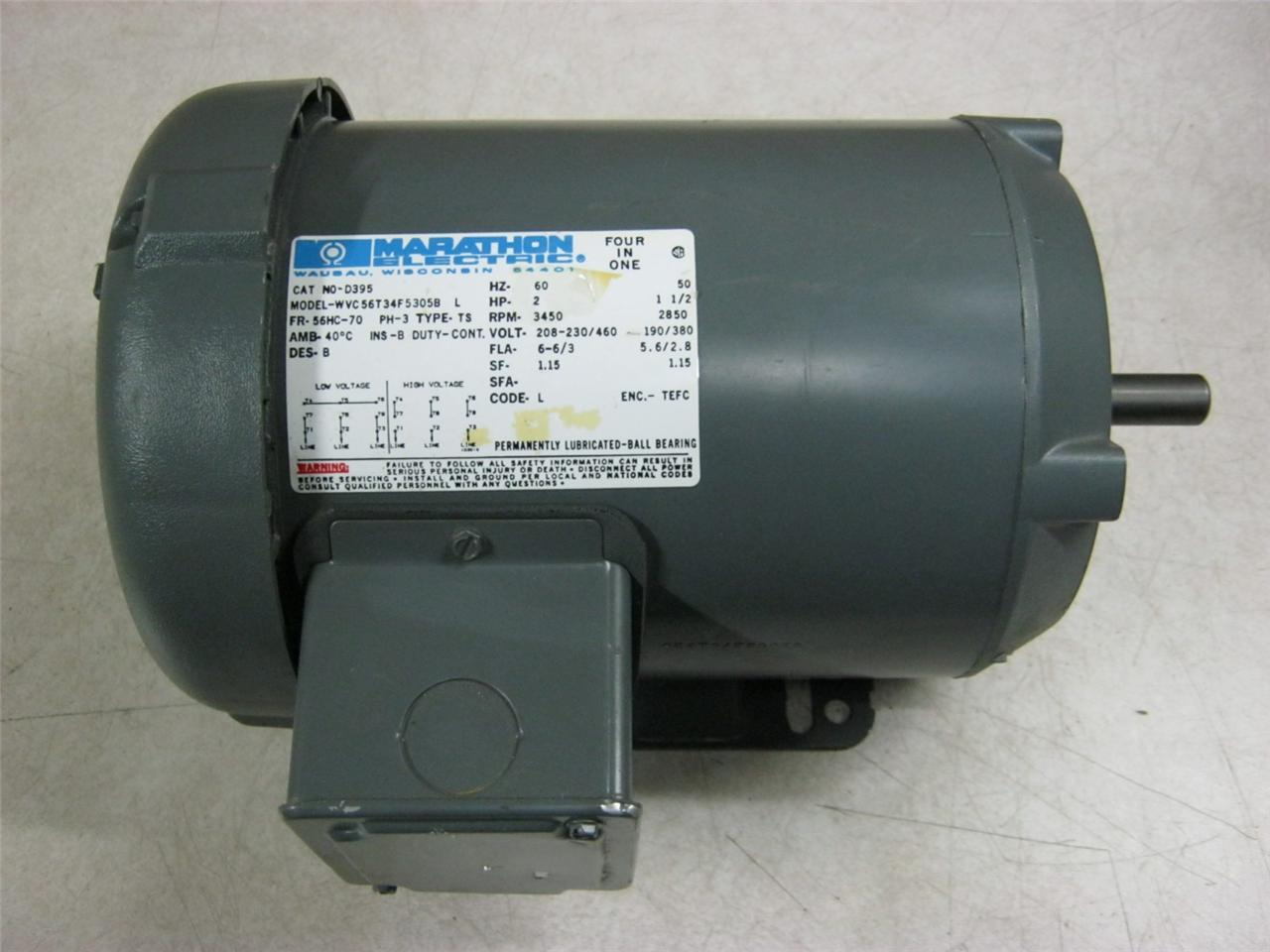 Marathon electric motor d395 3450 rpm daves industrial for Marathon electric motor parts