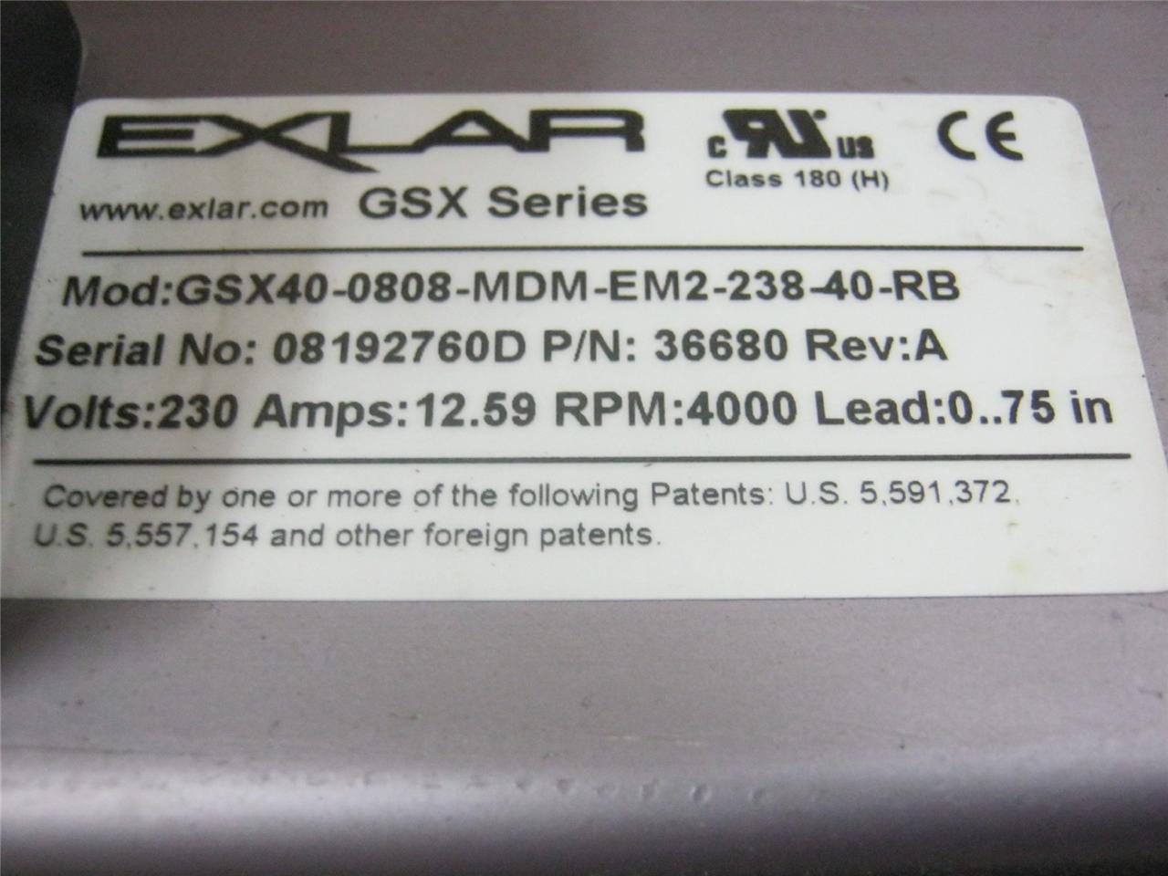 Exlar GSX Series Linear Actuator GSX40-0808-MDM-EM2-238-40-RB Servo Motor