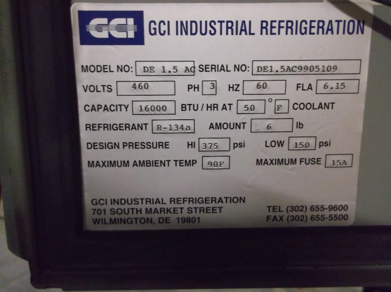 GCI Industrial Refrigeration IceWagon Chiller DE 1.5 AC #403C5D