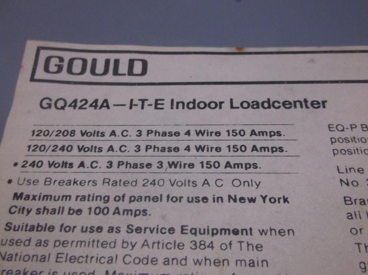Gould Gq424a Indoor Load Center 120 240 Volt 150 Amp