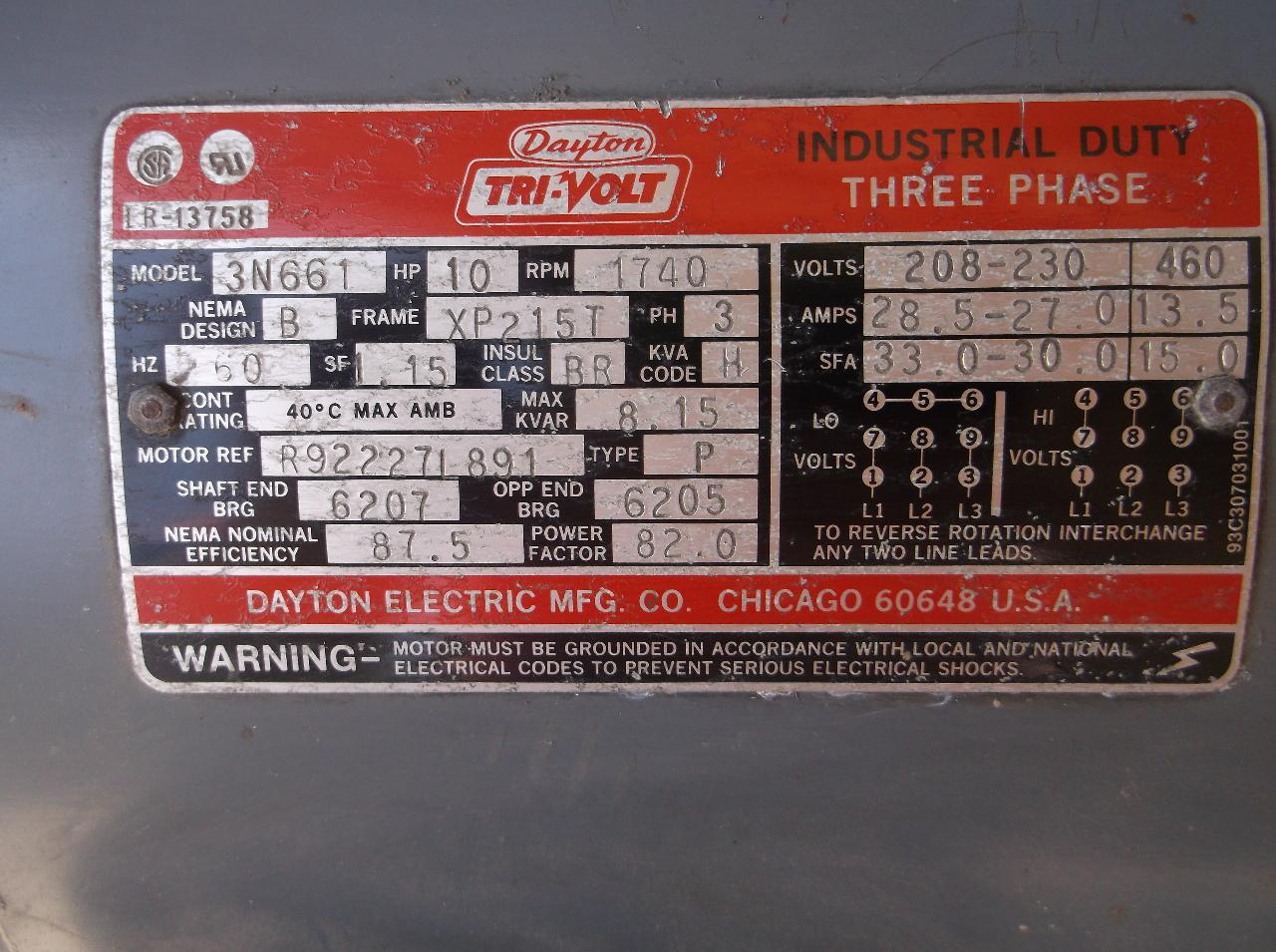 dis2269-dayton-tri-volt-motor-model-3n661-10hp-1740-rpm-3ph-2 Dayton Industrial Motor Wiring on