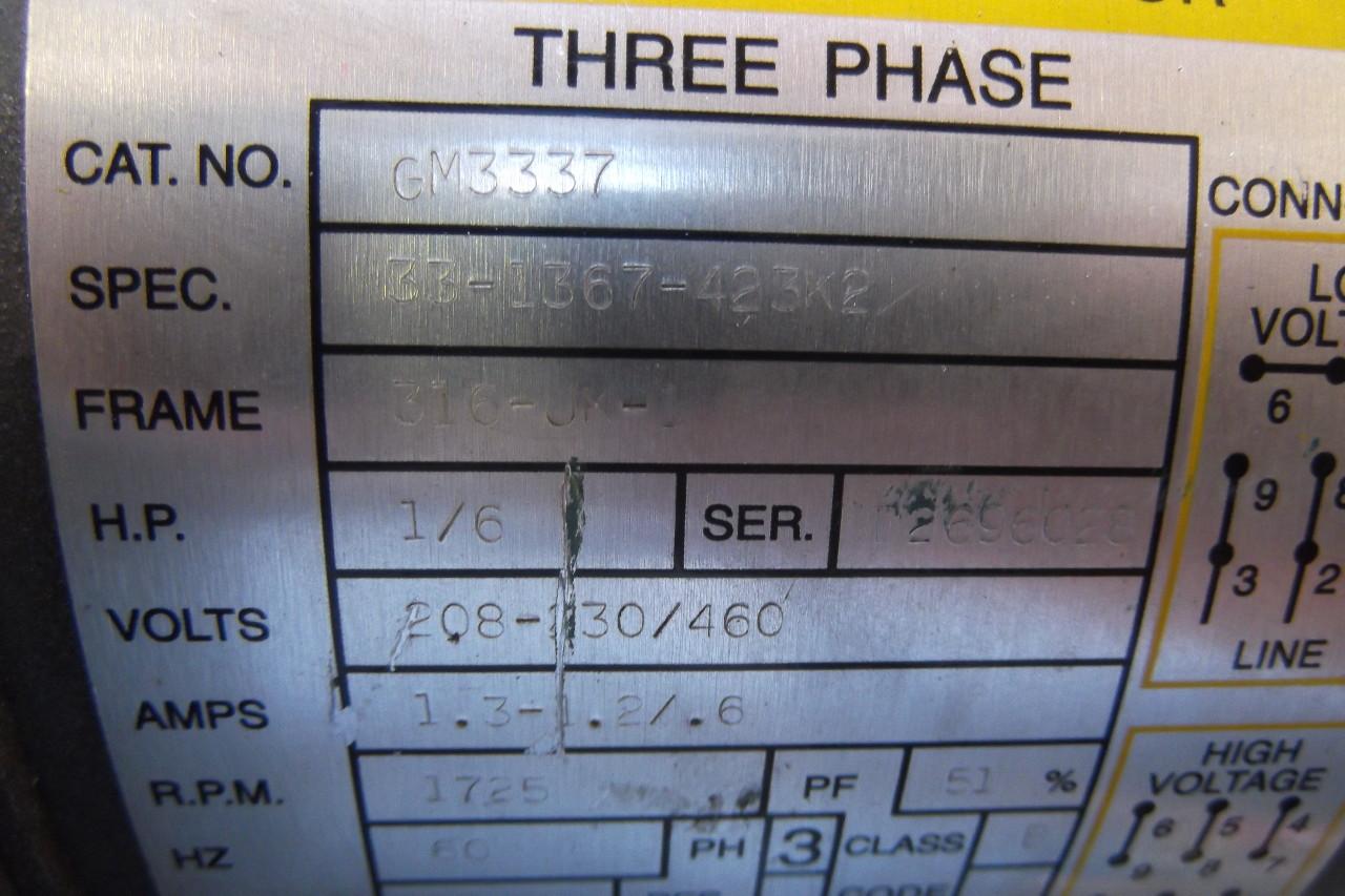 Baldor electric motor w right gearmotor 1 6 hp 3 phase for 3 hp electric motor 1725 rpm single phase