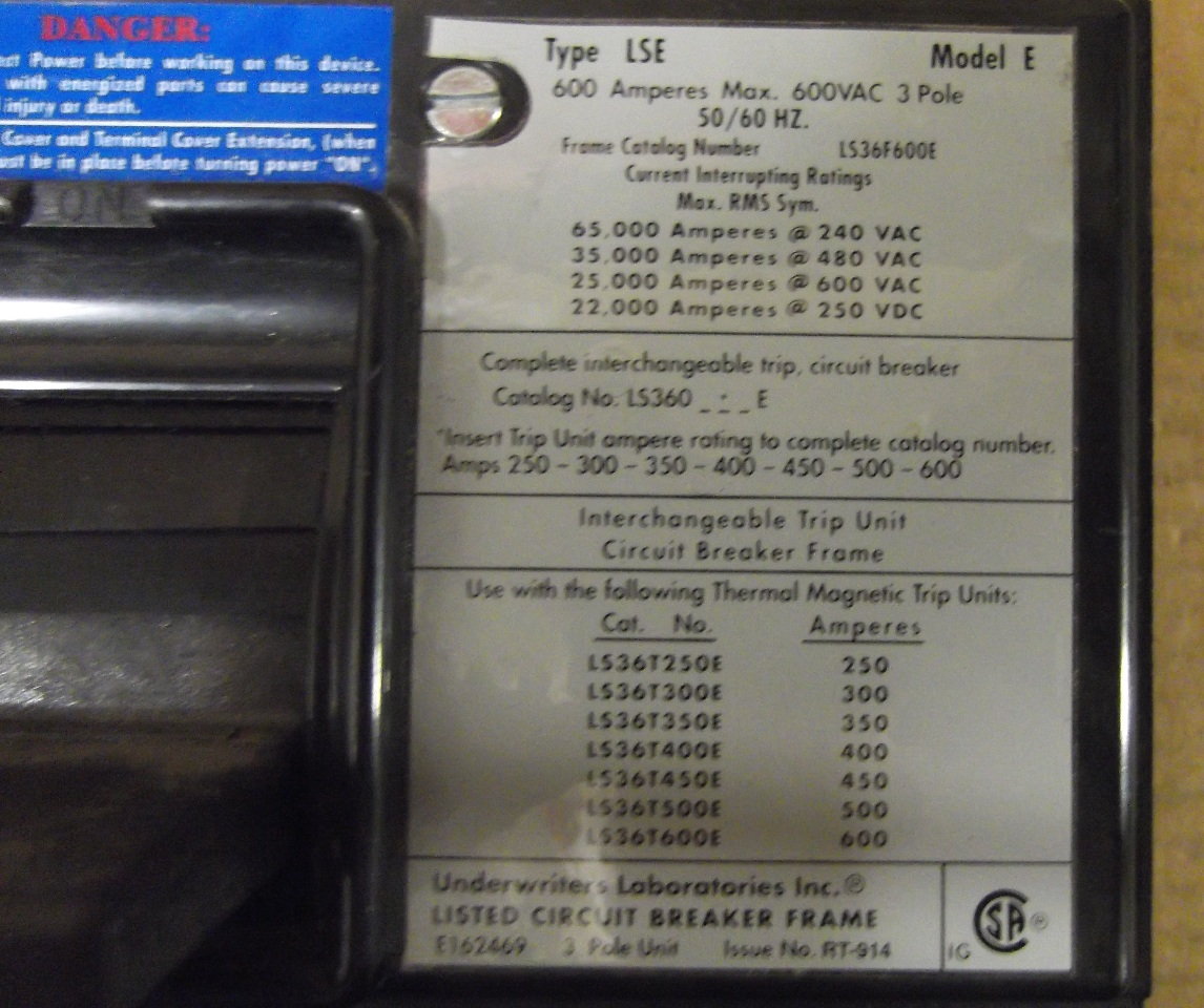 Hkd3400x15 Eaton Complete Frame Circuit Breaker Auto Electrical Used Cutler Hammer Ed3150 150 Amp Ls36f600e 600 Amps W