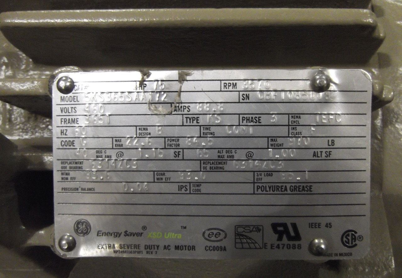 Ge general electric severe duty energy saver ac xsd for 5 hp motor amps