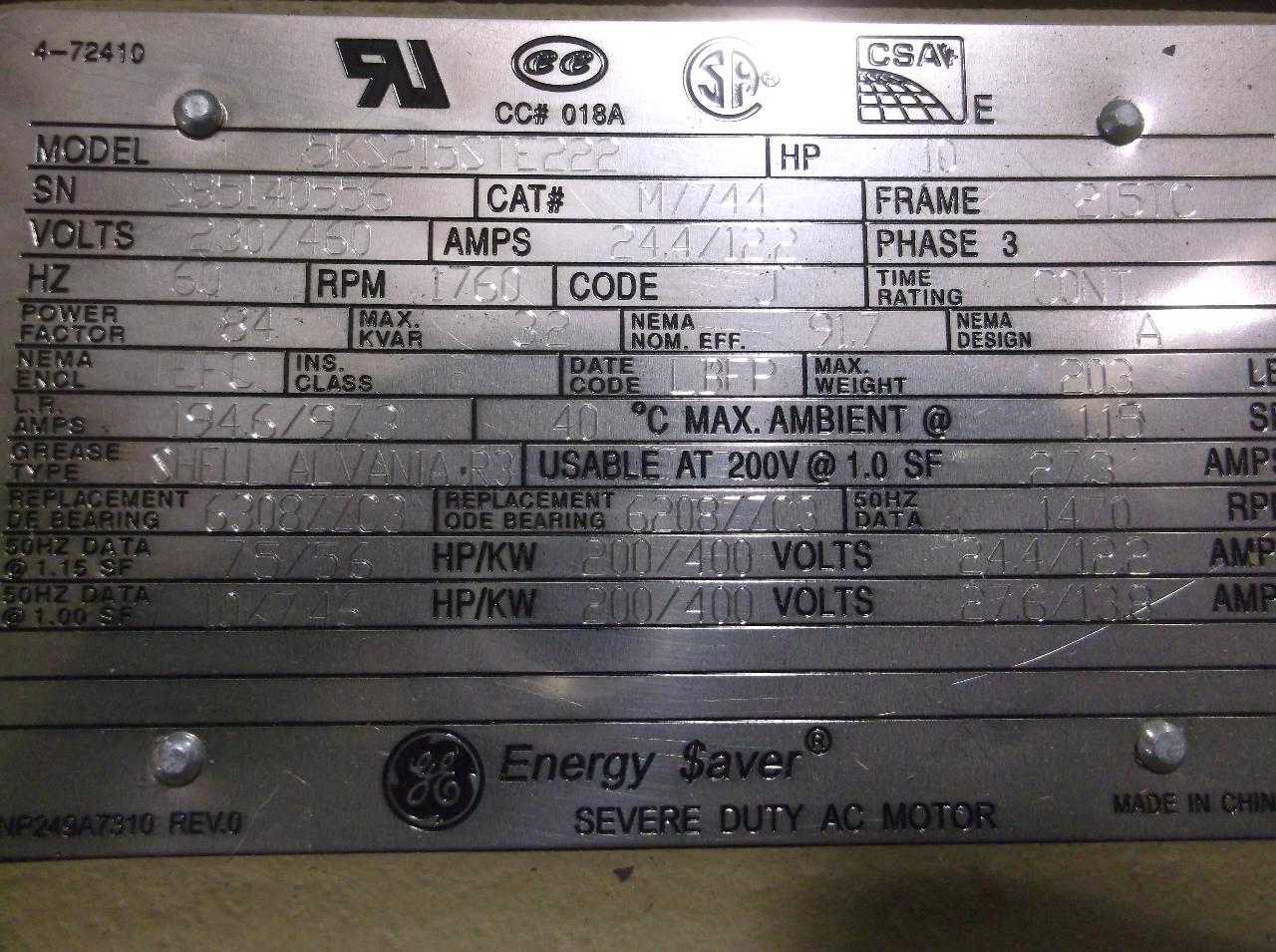Ge general energy saver motor frame 215tc 10 hp tefc for 10 hp single phase motor amps