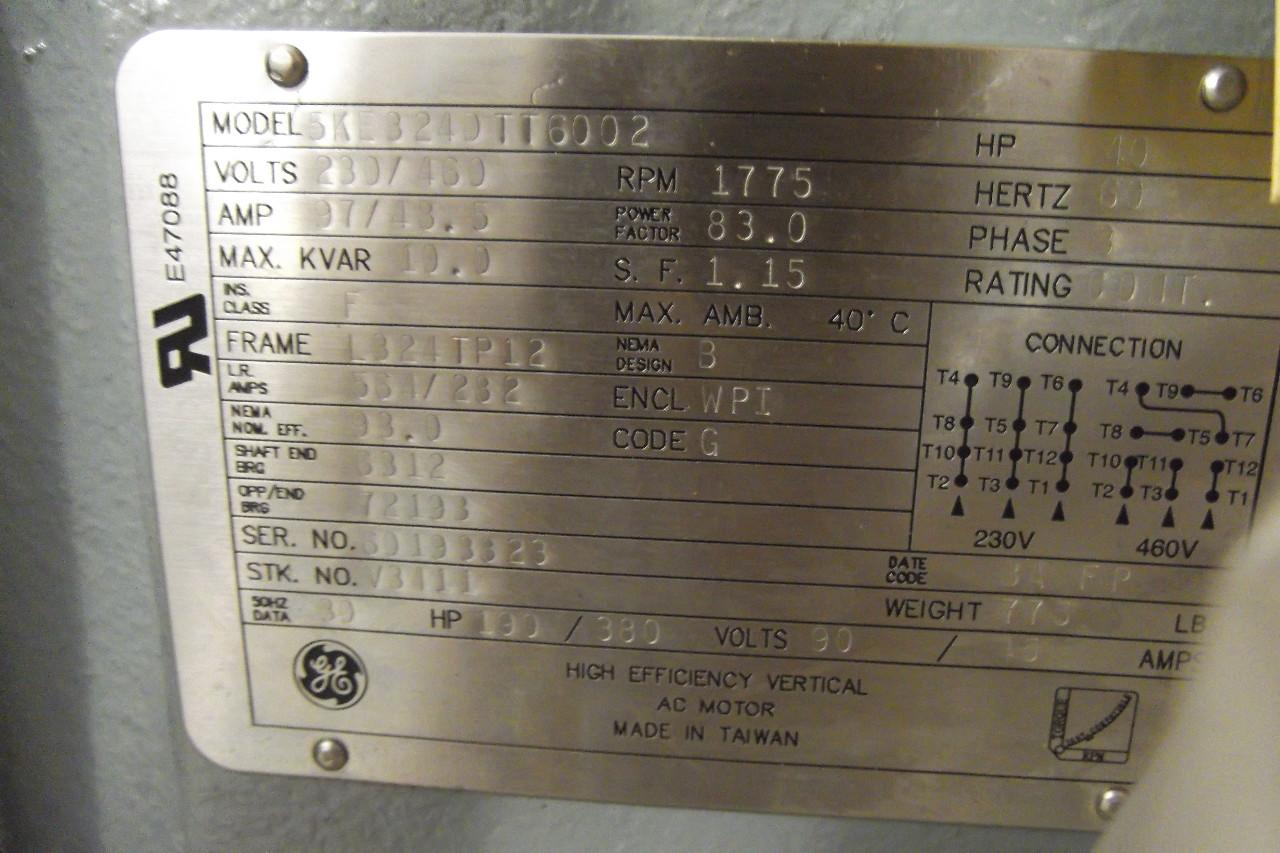 Ge General Electric Vertical High Efficiency Ac Motor 40