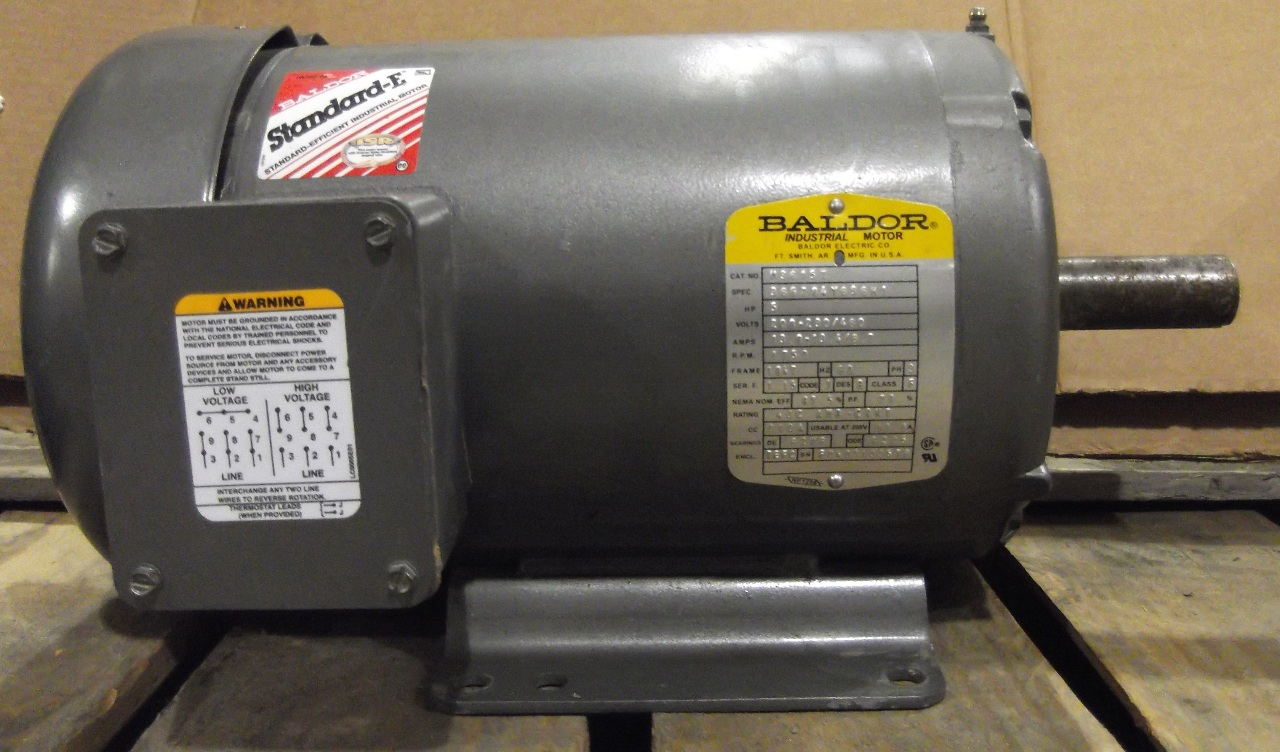 Baldor electric motor cat m3615t 5hp 3 phase 208 for 3 phase motor hp to amps