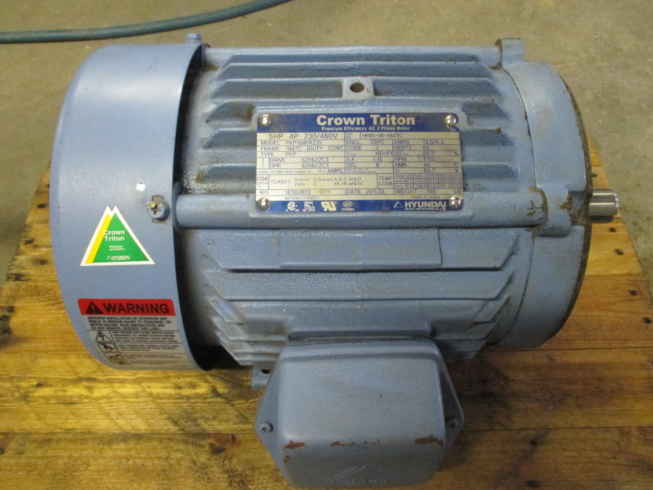 Crown Triton Electric Motor Hh15 18 18tc 5hp 3 Phase