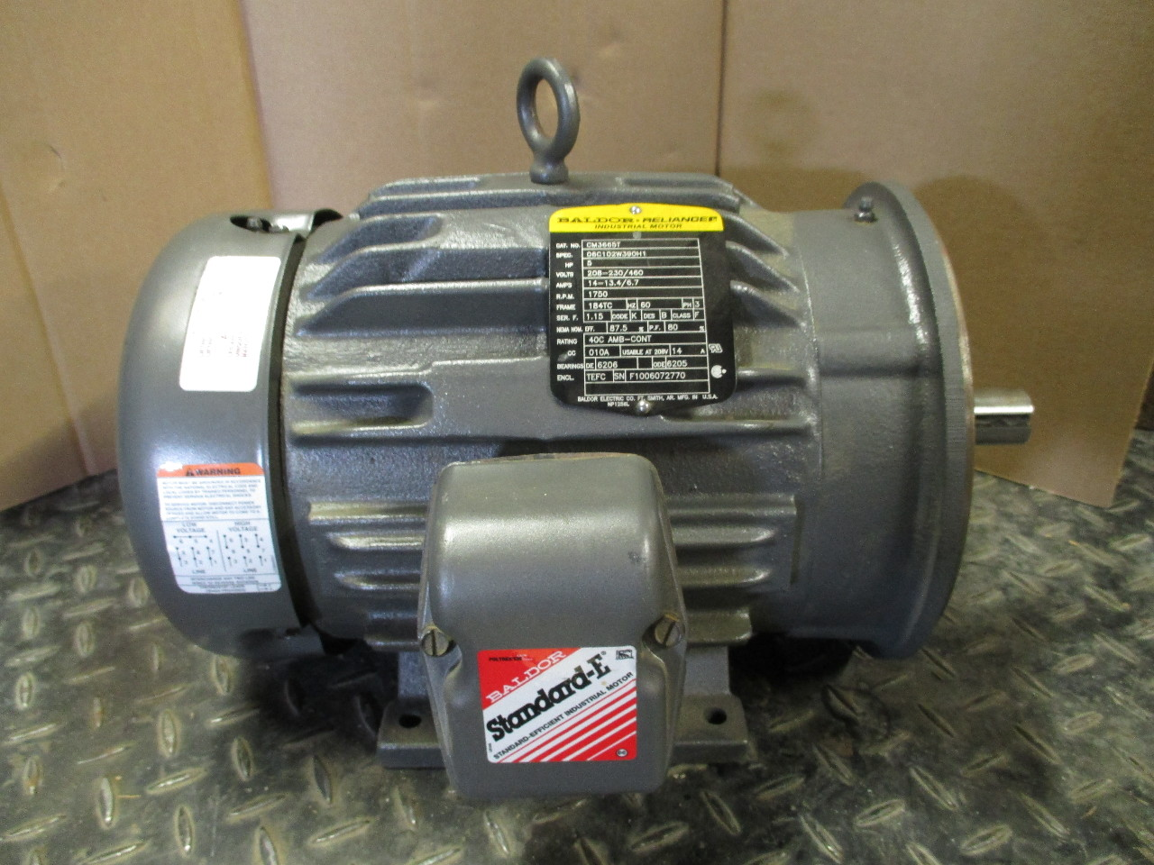 baldor reliance cm3665t electric motor 5 hp 3 ph 184tc