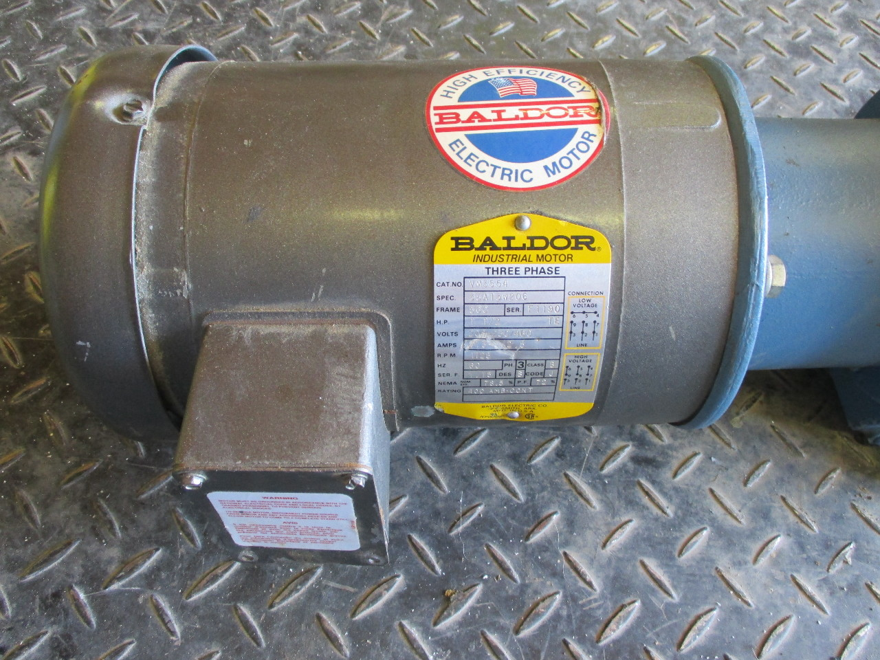 Baldor ac motor vm3554 1 5hp sew eurodrive k66lp speed for Baldor 15 hp motor