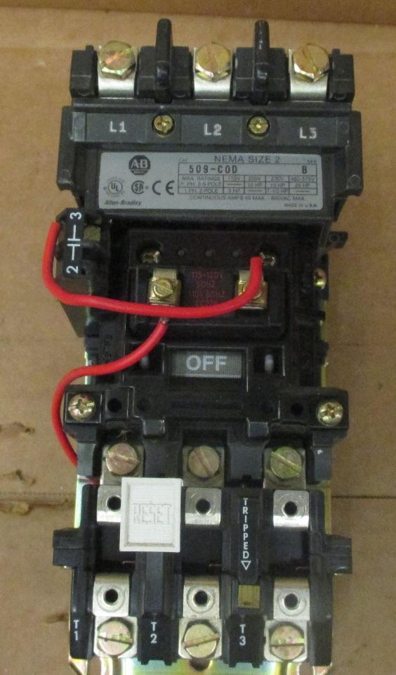 Allen Bradley 509 Cod Size 2 Contactor Motor Starter