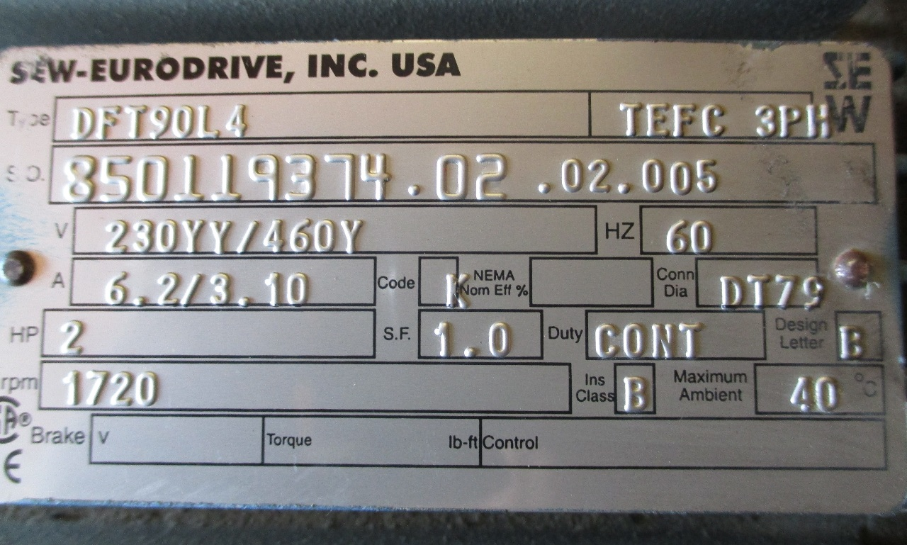 Sew Eurodrive Motor Dft90l4 W Gearbox Reducer Type R27a