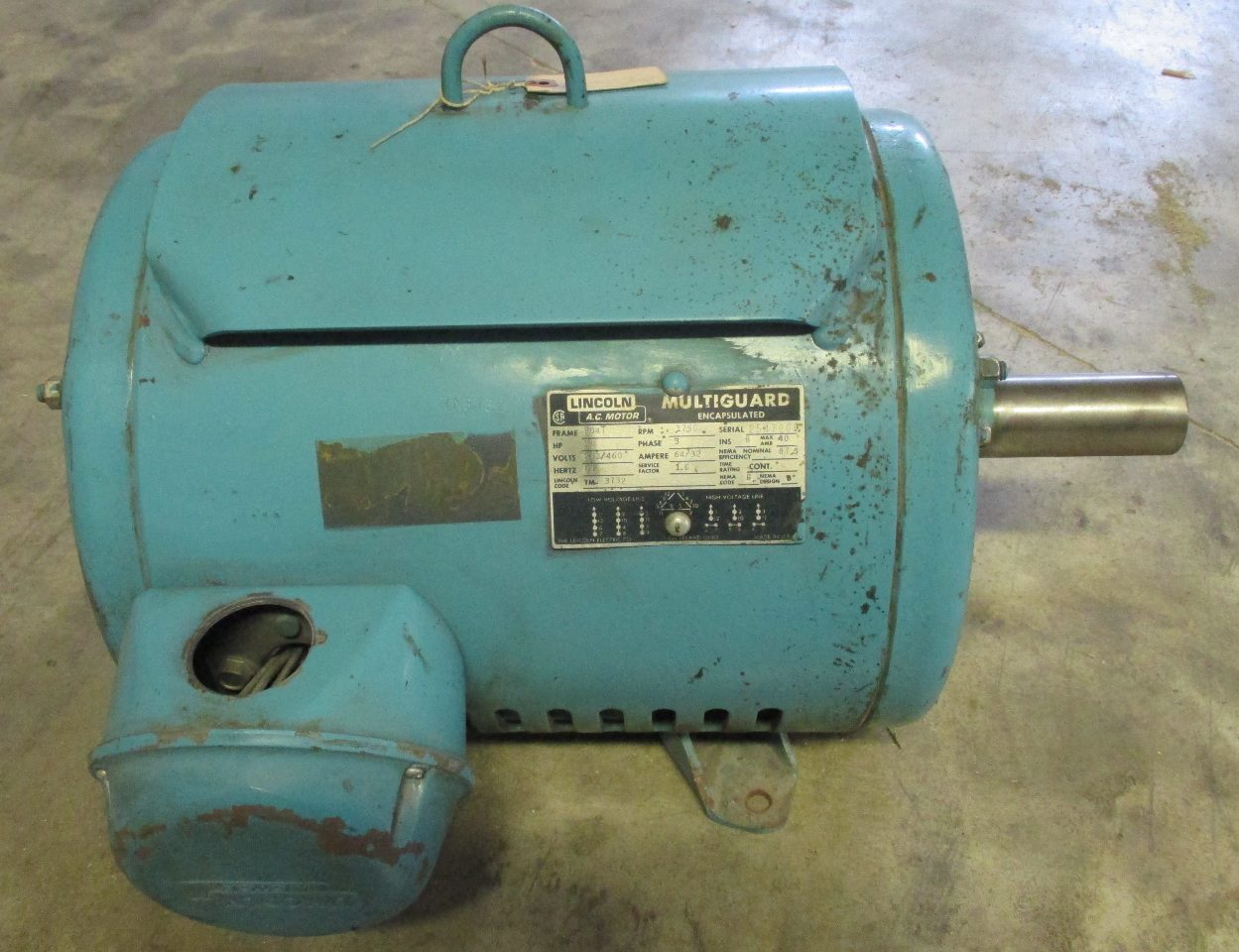 Lincoln multiguard encapsulated electric motor 25 hp 1750 for 25 hp dc motor