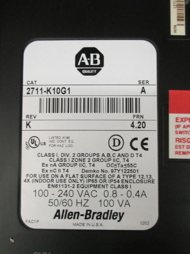 Allen Bradley Panel View 1000 Cat: 2711-K10G1 Ser: A FRN: 4.20 ...