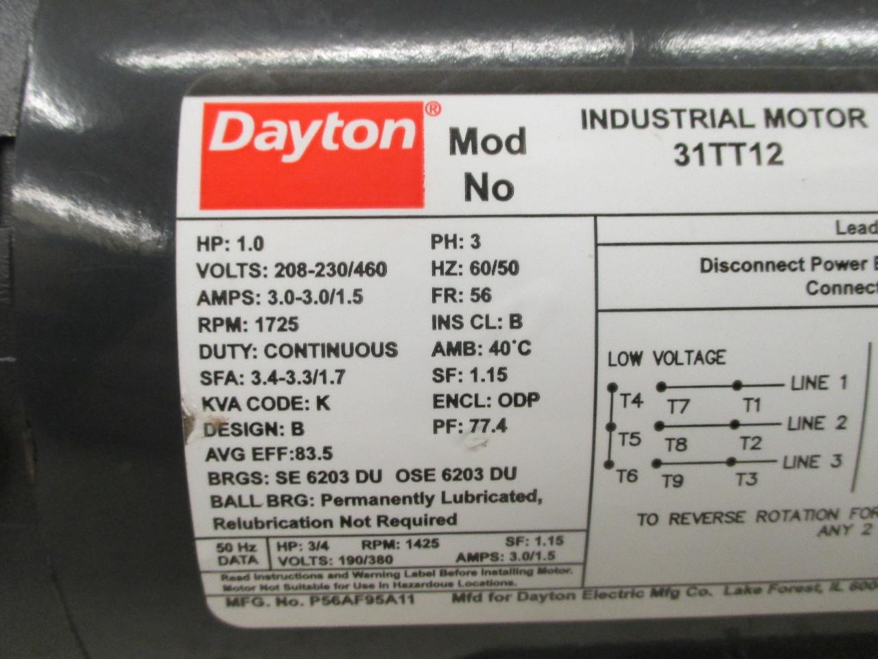 Dayton 1hp Industrial Motor 31tt12 Daves Industrial