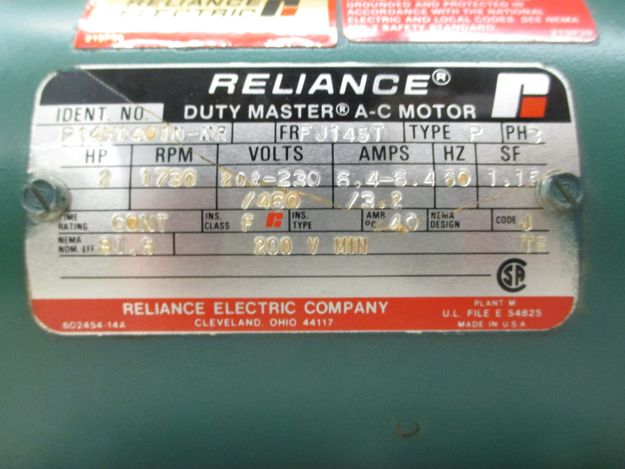 Reliance electric 2hp duty master a c motor p14h1401n nr for Air motors and drives llc