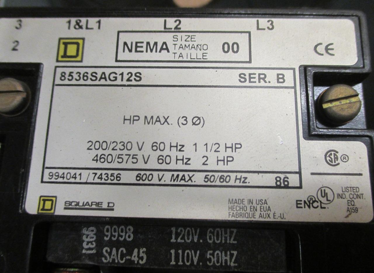 Nema Starter Size Square D 1 Wiring Diagram 00 Daves Industrial Surplus Llc