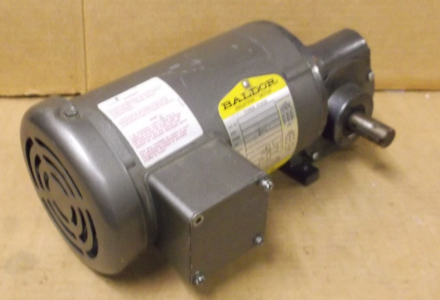 Baldor electric motor w right gearmotor 1 6 hp 3 phase for Baldor industrial motor parts