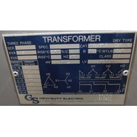 Hevi-Duty T81H30S  30 KVA Transformer 480 Delta - 480Y/277