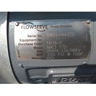 DURCO FLOWSERVE MARK 3 MK3 STD 2K6X4 13A/96RV CENTRIFUGAL PROCESS PUMP 150 HP