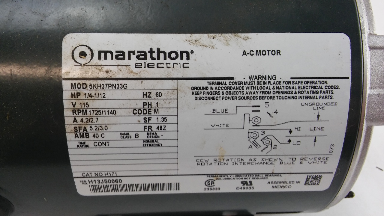 Marathon Electric A C Motor 5kh37pn33g Ls3060 on 1 5 hp baldor electric motor wiring diagram