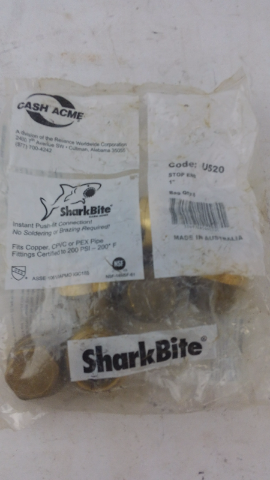 "Sharkbite 1"" end stop new in sealed bag U520 push-it fitting 6 COUNT"