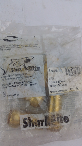 Sharkbite 1 tail x 3/4mm straight adapter new in sealed bag U724 6 COUNT
