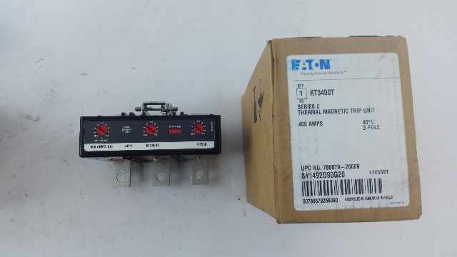 EATON CUTLER HAMMER KT3400T 400A Thermal Magnetic Trip Unit for Type KD Breakers