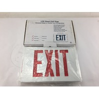 UNIVERSAL LED STEEL EXIT SIGN 392343 RED LETTERING, WHITE HOUSING, BATTERY BACKUP