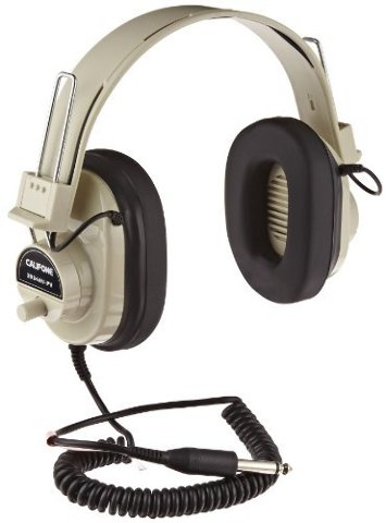 Califone Deluxe Mono Headphones with Volume Control and Permanent Coiled Cord