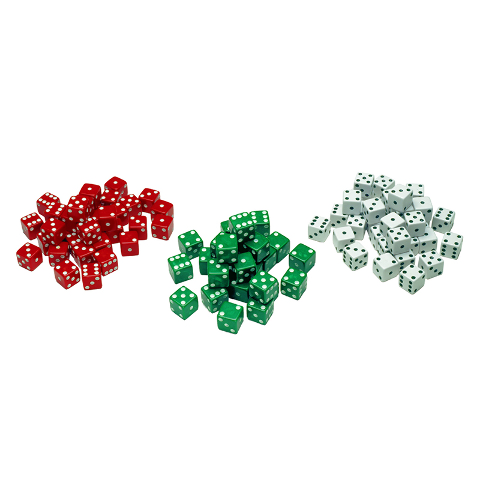 RED GREEN & WHITE DOT DICE 12/PK