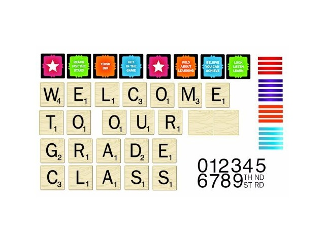 Eureka Scrabble Welcome to Our Class Mini Bulletin Board Set