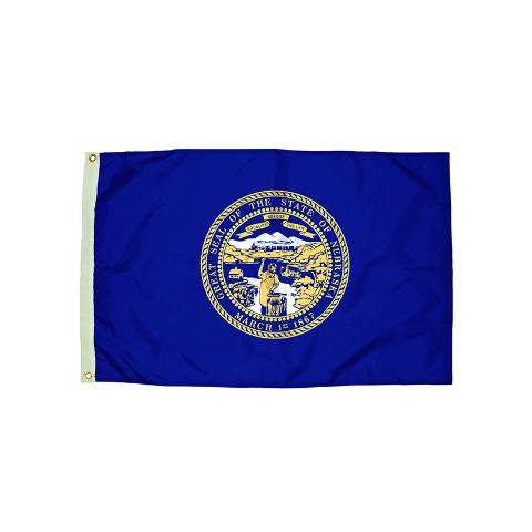 3X5 NYLON NEBRASKA FLAG HEADING &