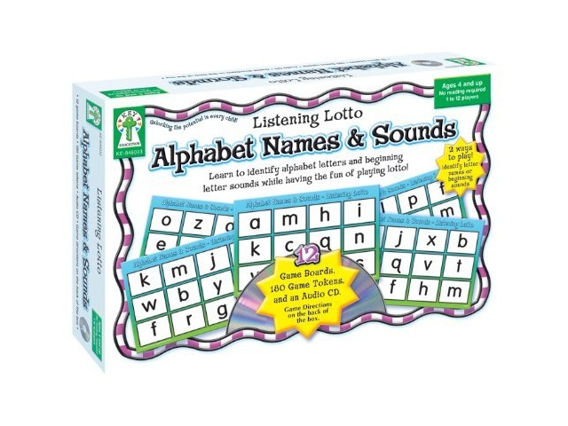 Alphabet Names & Sounds: Learn to identify alphabet letters and beginning letter sounds while having the fun of playing lotto! (Listening Lotto)