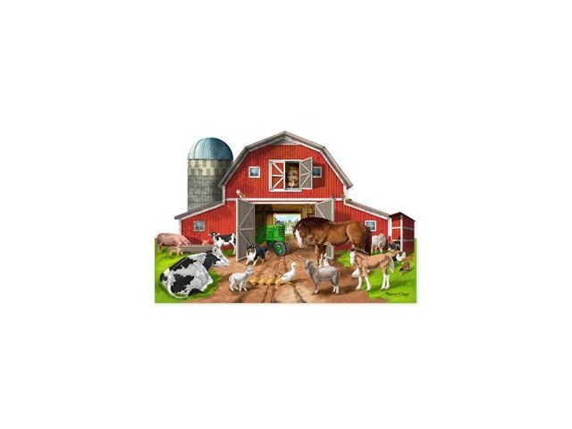 Melissa Doug Busy Barn Shaped Floor Puzzle 32 Piece