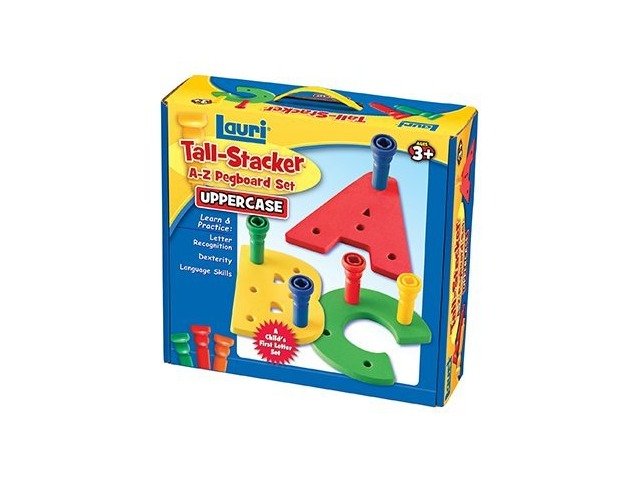 Lauri Toys Tall-Stacker A-Z Pegboard Set (Uppercase)