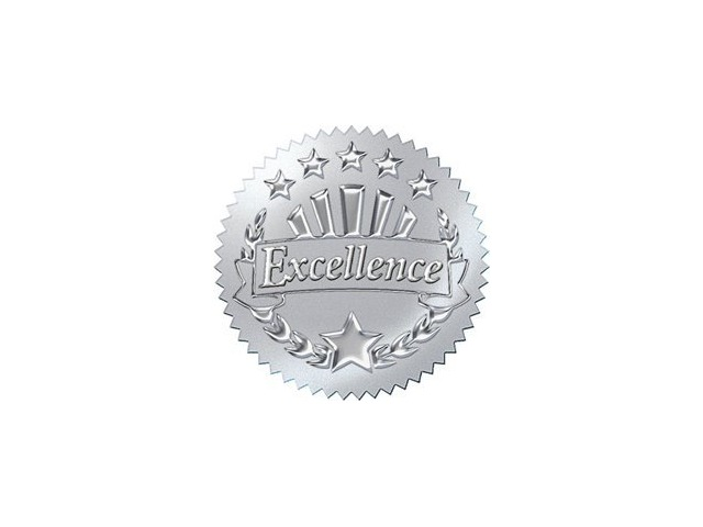 Excellence-Silver Award Seals Stickers; 32 Per Pack