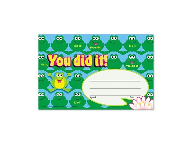 Recognition Awards: You Did It!-Frogs; 30 Per Pack