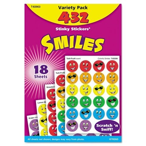 TREND Stinky Stickers Variety Pack, Smiles, 432-Pack (T83903)